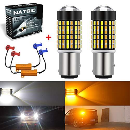 NATGIC 1157 BAY15D LED Ampoules 3014 120 - Ampoules LED Bicolores SMD Blanc/Ambre Clignotant sans Erreur Canbus avec résistances de Charge de 50 W et 8 Ohms