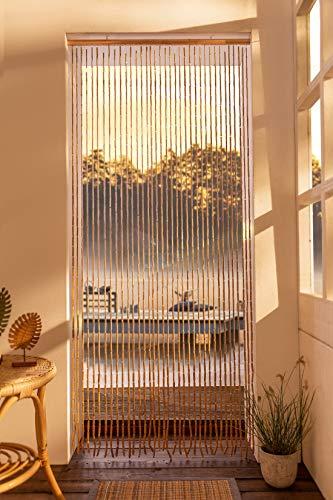 Türvorhang aus Bambus & Holz, 90x200 cm, Balkontür, Insektenschutz Vorhang, Fadenvorhang