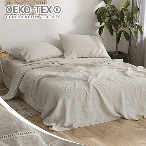 Simple&Opulence 100% Pure Linen Bed Sheet Set King 4pcs Luxury Flax Bedding Set Hemstitch Design(Natural Linen)