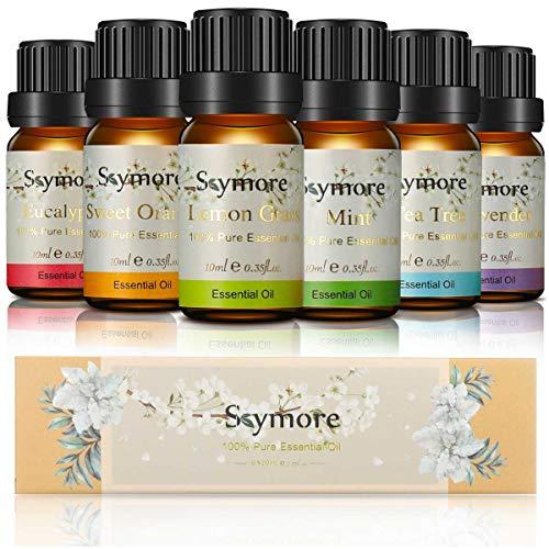 Skymore Ätherische Öle Geschenk Set, Neue Generation Aromatherapie Duftöl, 100{e2c8626a78705836a8e486e210263fe1d5b5e6a6c5bd2ac42de09bbc0e5ac9d9} Natur Duftöle Aromaöle für Diffusor, Luftbefeuchter, Aromatherapie 6×10ml