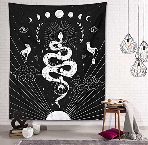 Gothic Snake Tapestry Witch Magic Mystic Moon and Stars Spells Witchcraft Kit Black and White Wall Hanging Goth Wall Art Decor (Gothic Snake Tapestry, 51'x59')