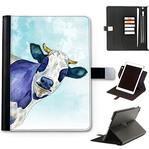 Horned Cow Case For iPad 8 (2020) (8th Gen) 10.2 inch, Watercolour Art Print leather iPad Case, side flip wallet case, 360 swivel folio cover