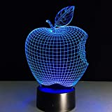 Apple 7 Color 3D Lámpara de Escritorio Led Acrílico Visión Estéreo Holograma Decoración Interruptor Táctil Luz de Luz Nocturna Regalo para Niños