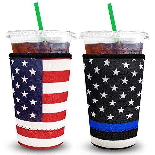 XccMe Wiederverwendbare Eiskaffee-Hüllen aus Neopren, Isolierbecher für kalte Getränke, ideal für Dunkin-Donuts, Starbucks-Kaffee, McDonalds (groß, 900 ml)