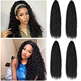 Brazilian Braiding Crochet Hair 4 Packs 20 Inch Synthetic Locs Hair Water Wave Extensions For Black Women With Wig Decoration Button and Crochet (1B)