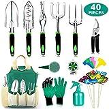 AOKIWO 40 PCS Garden Tools Set Heavy Duty Aluminum Manual Garden kit Outdoor Gardening Gifts Tools Set for Men Women