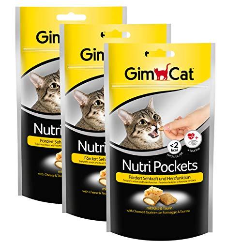 GimCat Nutri Pockets Käse und Taurin - Knuspriger Katzensnack mit cremiger Füllung und funktionalen Inhaltsstoffen - 1 Beutel (1 x 60 g)