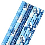 Hallmark Holiday Wrapping Paper Bundle with Cut Lines on Reverse, Blue and Silver (Pack of 6, 180 sq. ft. ttl) for Christmas, Hanukkah, Birthdays and More