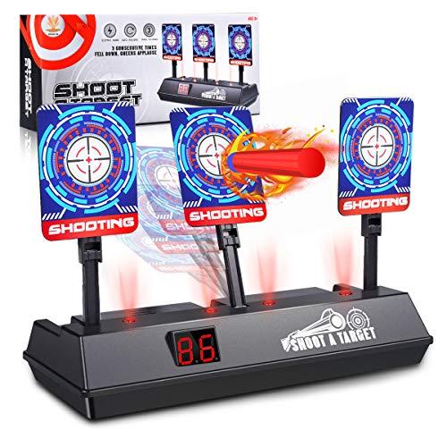 (2020 Updated Edition) Electric digital target for Nerf Guns,Scoring Auto Reset Nerf Target for Shooting with Wonderful Light Sound Effect for Nerf Guns Blaster N-Strike Elite/Mega/Rival Series