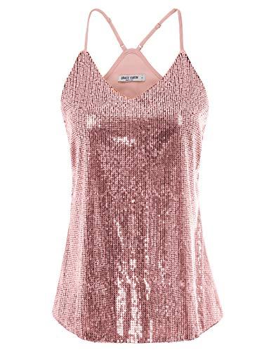 GRACE KARIN Camiseta de Tirantes para Mujer de Lentajuelas Top Brillante para Fiesta Rosa S