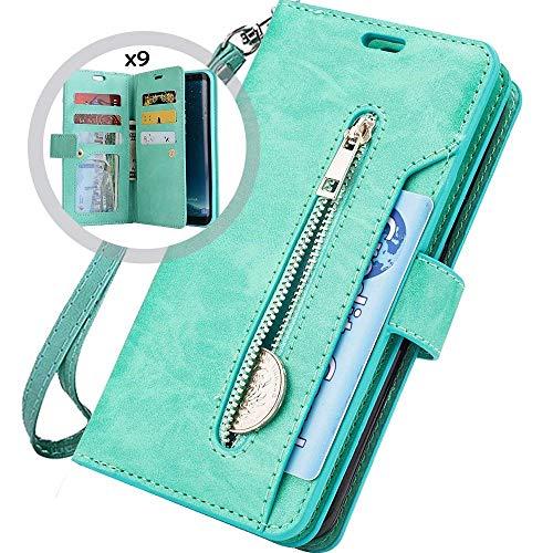 Saceebe kompatibel mit iphone 6/6S 4.7 Hülle Leder Flip Case Brieftasche Glitzer Ledertasche Handyhülle Schutz Ledertasche mit Reißverschluss [9 Steckplatz] kratzfest Schutzhülle,grün