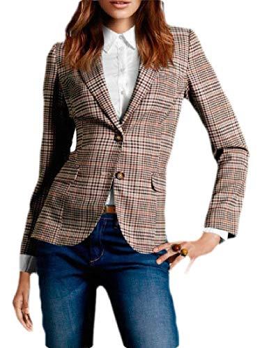 Sweetmini dames geruite werk kantoor lange mouwen getande revers blazer jas