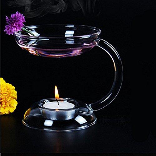 Kicode BigFamily PC 1 Soporte de luz Aroma Candlestick Doble Capa Calentador de Aceite Candelero de Vidrio con Mango