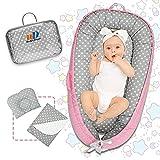 Baby Nest Juego de nido de bebé de 3 piezas para dormir, cómoda tumbona con almohadas y colchonetas, cuna para recién nacidos mientras duermen la siesta y viajan 100% algodón (0-12 meses)
