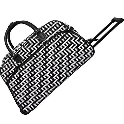 World Traveler 21-Inch Carry-On Rolling Duffel Bag, Black Trim Houndstooth