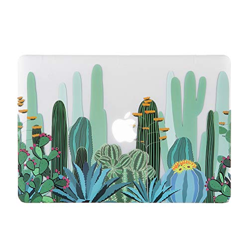 iDonzon MacBook Pro 13 inch Case (A1502 A1425, 2012-2015 Release), 3D Effect Matte Clear See Through Hard Cover Compatible Mac Pro 13.3 inch with Retina Display (NO CD-ROM Drive) - Cactus Pattern