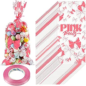 100 Pieces Bow Design Cellophane Bags Party Candy Reception Bags Pink Cookie Treat Gift Bags Plastic Clear Goodie Package Bags with 1 Roll Pink Ribbon for Party Favors  Pink