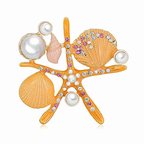 ZJHGQ Lindo Shell Pearl Broche Brillante Color Cristal Collar Broche Pin Corsage Ropa Decoración Pecho Para Mujeres