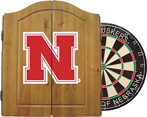 Imperial Officially Licensed NCAA Merchandise: Dart Cabinet Set with Steel Tip Bristle Dartboard, Nebraska Cornhuskers
