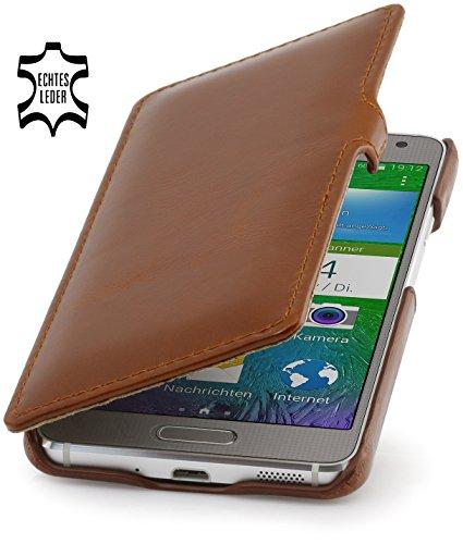 StilGut Book Type Hülle, Hülle aus Leder für Samsung Galaxy Alpha, Booklet case mit Clip, Cognac