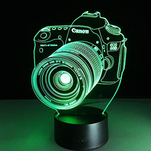 JJIEZZ Lámpara de cámara de Entretenimiento con luz Nocturna 3D, atmósfera Colorida, Control táctil, visión, lámpara estéreo, lámpara acrílica-Cambio de 7 Colores