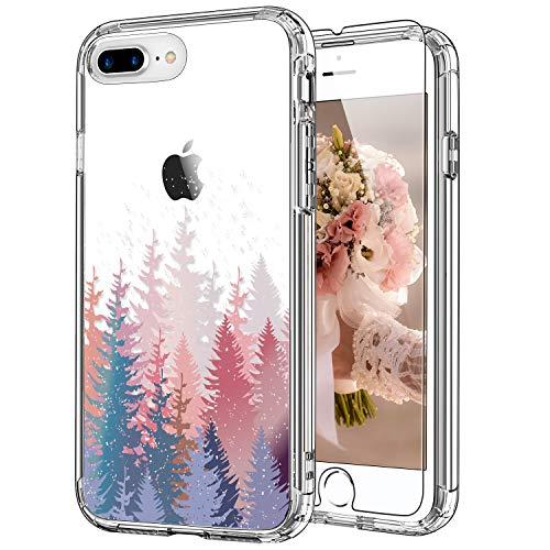 ICEDIO - Funda para iPhone 8 Plus, iPhone 7 Plus con protector de pantalla, transparente con diseño de flores de árboles para niñas y mujeres, a prueba de golpes para Apple iPhone 8 Plus/7 Plus