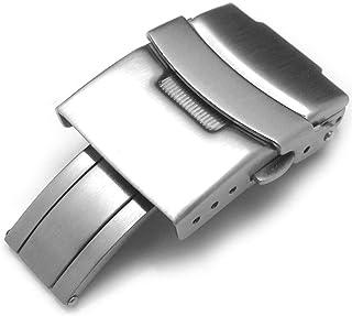 Strapcode - Chiusura per orologio da 18 mm, 20 mm, 22 mm o 24 mm, in acciaio INOX, spazzolato