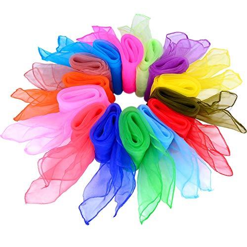 Tanz Tücher,Seidentücher Bunt 14 stück Mehrfarbige Quadratisch Tanzen Schal für Kindergarten Kindershow Bauchtanz 24 * 24inch 14 Farben