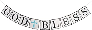God Bless Banner Baptism Christening First Communion Baby Shower Decoration Holy Religious Bunting Garland Party Supplies Decor Sign Dedication (Blue Cross)
