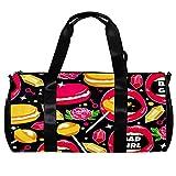 Bolsa de deporte redonda con correa de hombro desmontable para labios, rosa, macarón, diamante, piruletas, bolso de entrenamiento para mujeres y hombres