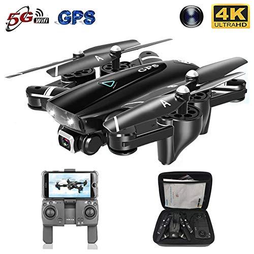 EDOSTORY UAV, 4K Pieghevole con Una Telecamera Ad Alta Definizione, WiFi FPV RC Quadrocopter Trasmissione in Tempo Reale, GPS Ritorno Posizionamento, Inversione 3D, modalità Infinita,Nero,5.8G.4K