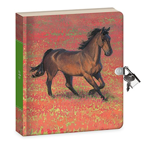 Peaceable Kingdom Wild Horse 6.25' Lock and Key, Lined Page Diary for Kids