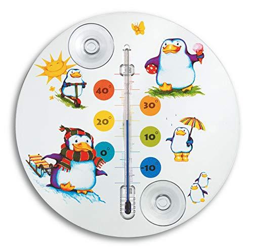 TFA Dostmann Pinguin Analoges Fensterthermometer, 14.6016.02, ideal fürs Kinderzimmer, leichte Montage mit Saugnäpfen