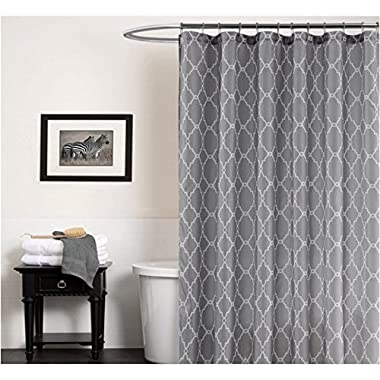 Cryseam Shower Curtains Gray Geometry Pattern for Bathroom Waterproof/Easy Care Polyester Fabric Stall Curtain (72''X72'')