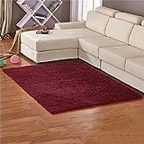 RENJUN - Alfombra de pelo de seda para salón, dormitorio, sala de café, ventana, sofá, cama, cabecero de cama, alfombra. Alfombra (color: burdeos, tamaño: 0,63 x 1,6 m)