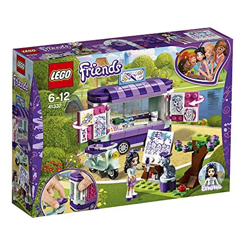 LEGO Friends - Puesto de Arte de Emma, Juguete de Construcción con Moto, Mini Muñeca de Emma, Figura de Gato Chico y Remolque (41332)