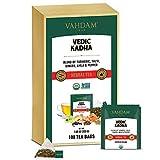 VAHDAM, Tisana Orgánica Vedic Kadha (100 Bolsitas de Té) | Elixir para Mejorar la Salud | Cúrcuma + Pimienta Negra + Jengibre + Albahaca Sagrada | SIN CAFEÍNA | Ingredientes 100% Naturales