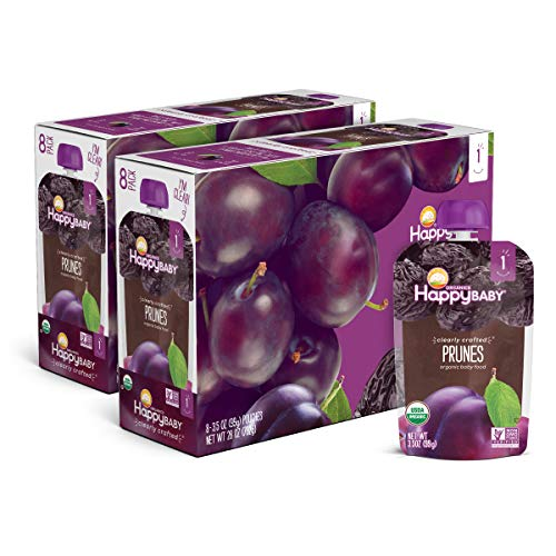 Happy Baby Clearly Crafted Organic Baby Food Stage 1, 3.5, 16 Count, Prunes, 56 Oz (Pack of 16)