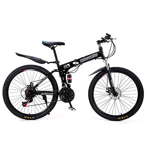 TOPYL 24 Geschwindigkeit Falten Mountainbike Fahrrad,24 Zoll Männlich Und Weiblich Studenten Doppel Stoßdämpfer Erwachsene Commuter City Bike Faltbares Fahrrad Schwarz 24