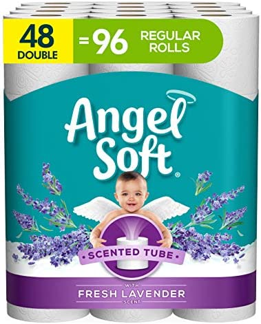 Angel Soft Toilet Paper with Fresh Lavender Scented Tube 2 Ply Sheet Double Rolls 12 Count of product image