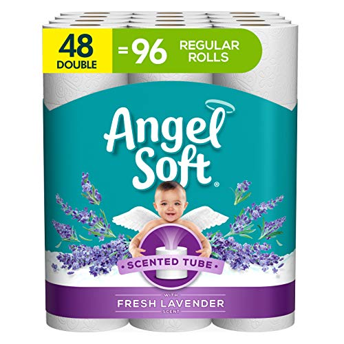 Angel Soft Toilet Paper with Fresh Lavender Scent, 48 Double Rolls= 96 Regular Rolls, 200+ 2-Ply Sheets Per Roll