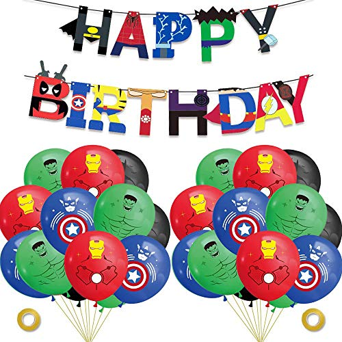 Superhero Party Supplies Kit-Superhero Birthday Garland Banner, Latex Balloons, Superhero Theme Party Decorations Party Favors for Kids Birthday