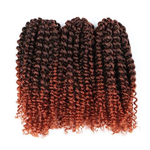 3pcs/pack Marley bob Kinky Curl 8 Inch Afro Kinky Twist Hair Soft Synthetic Crochet Braiding Hair Extention (1b/350)