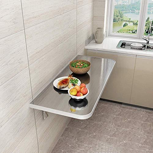 Lsqdwy Mesa de Pared, Mesa Plegable de Pared, Consola de Cocina de Acero Inoxidable 304 de Alta Capacidad de Carga 100 kg, Utilizada en restaurantes de Comida rápida, 100 cm (39,5 Pulgadas) x 30 cm