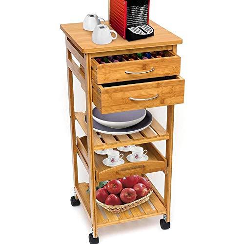 BAKAJI Carrello Cucina in Legno di bambù con Ripiano Top Solido Tagliere utile per appoggio Macchina da caffè, Tavolino Cucina da Servizio in Bamboo 4 Ruote girevoli,Vassoio Estraibile, 3 Ripiani