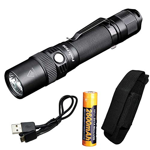 Fenix FD30 900 Lumen Zoomable Tactical LED Flashlight with Rechargeable Battery with Built-in Charging Port and LumenTac Charging Cable