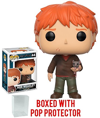Funko Pop! Movies: Harry Potter - Ron Weasley with Scabbers Vinyl Figure (Bundled with Pop Box Protector Case) image