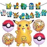Gxhong Pokémon Palloncini Set di Palloncini Foglio di Alluminio Palloncino Compleanno Banner Palloncini Pokémon Compleanno Decorazione per Feste per Bambini happy birthday decorazioni