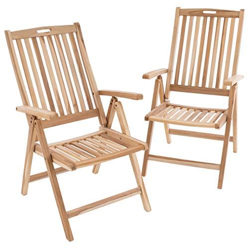 Divero GL05004_SL 2er Set Stuhl Gartenstuhl Terrassenstuhl Klappstuhl aus Teak-Holz Hochlehner mit Armlehnen verstellbare Rückenlehne klappbar massiv unbehandelt Natur, Braun