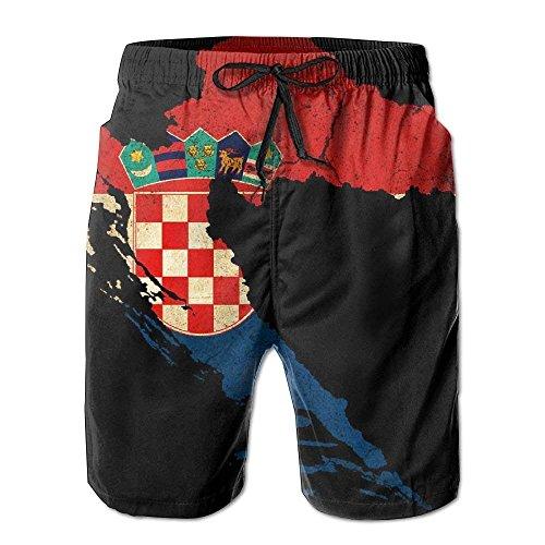 ZQHRS Herren Kroatien Karte Umriss Flagge Sommer atmungsaktiv schnell trocknend Badehose Strand Shorts Cargo Shorts Größe XL